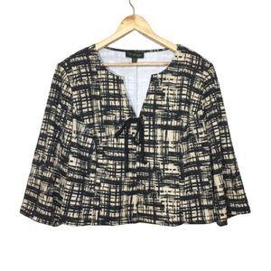 20W Tie-Front Crosshatch Print Cropped Jacket